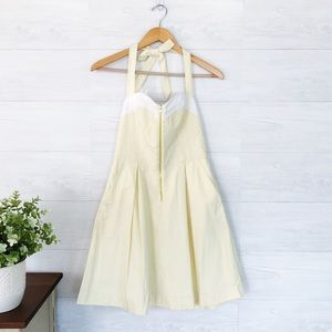Lilly Pulitzer Yellow Seersucker Halter Mini Dress